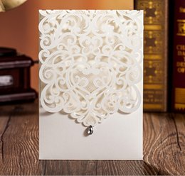 Wholesale Diamond Wedding Invitation Cards - 50pcs White Vine Vintage Flower Wedding Invitation Card Decorations Cover Only, with Diamond,NO Inner Insert,NO Envelope
