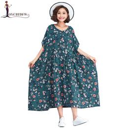 Wholesale Linen Dresses Large - Summer Long Dress 2018 New Fat mm Loose Large size Female Round neck Dress Floral Retro Cotton linen Pullover FASHION030