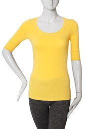 Wholesale Elbow Cuffs - Women's Scoop Neck Elbow Cuff Sleeve T-Shirt Soft Stretchy Cotton Tee Top GT3053