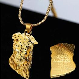 Chunky gold necklaces en Ligne-Chaude Or Rempli Jésus Pièce Pendentif Collier Pour Hommes Femmes Hip Hop Bijoux Or Chaîne Chunky Long Collier D0091