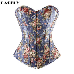 Wholesale Corset Top Patterns - Basic Corset Top Flower Pattern Summer Cotton Corselet Outerwear Busk & Lacing Shirt Fancy Party Dress Floral Denim Basque Shape
