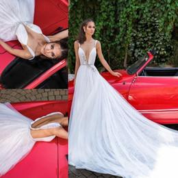Wholesale colorful spaghetti - Elihav Sasson 2018 A Line Wedding Dresses Bohemia Spaghetti Plunging Neckline Backless Beads Bridal Gowns Custom Made Boho Vestido De Noiva1