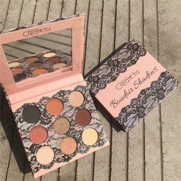 Wholesale matt shadows - 2018 Newest Beauty Creations Boudoir shadows 9 Colors Lace Eyeshadow Palette with Pearl Matt waterpoof Green Earth Red Concealer makeup