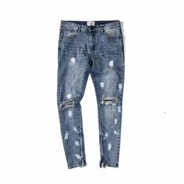 Wholesale Damaged Jeans - fear of god fog Classic wash to do old damage jeans men's zippers skinny slim fit holes style splashed ink cotton Denim ripped
