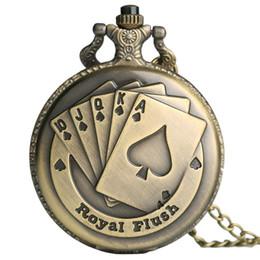 Wholesale Flush Poker - Wholesale Flush Poker Pattern Necklace Watch Vintage Style Bronze Pendant Chain Clock Quartz Pocket Watch Unisex Valentine's Day Xmas Gifts