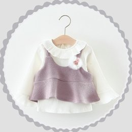 Wholesale Knit Girl Ruffle Shorts - Everweekend Kids Girls Spring Baby Cute Sweet Ruffles White Tops Blouse and Solid Knitted Vest 2pcs Korean Fashion Sets Outfits