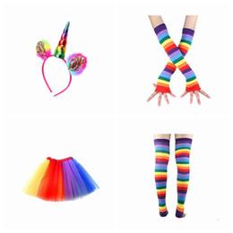 Wholesale dance skirts for kids - Colorful Kids Girls Rainbow Tutu Skirt with Unicorn Hair Hoop headband leggings socks gloves Set for Children Ballet Dance Party Costumes