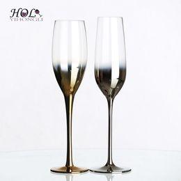 occhiali da cristallo Sconti Flute di champagne con placcatura elettrolitica soffiata a mano, bicchiere di champagne sfumato
