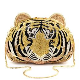 Borsa da sera di lusso a due lati con diamanti Borsa da sera a forma di borsa con pochette da donna, borsa a tracolla in pelle di tigre supplier two head animal da due animali di testa fornitori