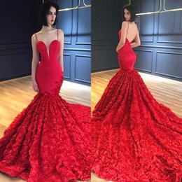 Wholesale Yellow Rose 3d - Red Long Mermaid Prom Dresses 2018 Spaghetti Straps 3D Floral Rose Backless Sweep Train Evening Gowns Celebrity Formal Party Dresses