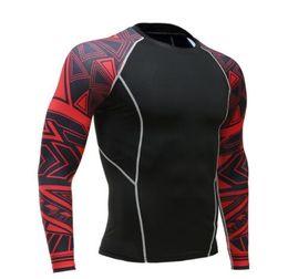 collant lunghi uomini Sconti T-shirt maniche lunghe da uomo Fitness Rashguard T Shirt da uomo aderenti a compressione termica T-Shirt da allenamento termica MMA Crossfit