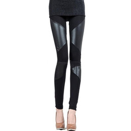 Сексуальные кожаные леггинсы онлайн-New Slim Fit Women Leggings Splicing Sexy Stretch Stripe Leggins Faux Leather Legging Ladies Skinny Pants