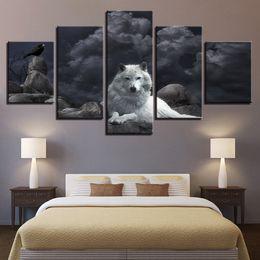 Pintura Da Arte Da Parede Da Lona Decoração de Casa Quadro 5 Peças Branco Lobo E Pássaro Fotos Sala de Impressão Em HD Animais Noite Poster de Fornecedores de pinturas a óleo de papagaios