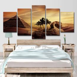 2019 wüstenmalereien Leinwandbilder Home Wandkunst Dekor Wohnzimmer 5 Stücke Ägyptische Pyramiden Gemälde HD Drucke Sunset Desert Poster günstig wüstenmalereien
