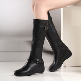 Wholesale short leather cowboy boots - Free shipping women's genuine leather black fashion wedge heel short Knee gladiator boots size34-42
