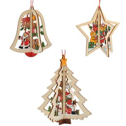 Holz geschnitzte anhänger online-Weihnachtsschmuck geschnitzt aus Holz Weihnachtsbäume Fenster Anhänger Pentagramm Glocke Stereo hängende Ornamente