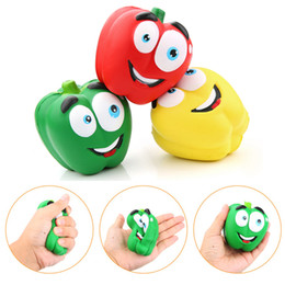 Wholesale Pepper Fruit - Vegetable Squishies Chilli Squishy Pepper Jumbo Slow Rising Fruit Squeeze Green Toy Simulation Chili DHL Free Shipping SQU033