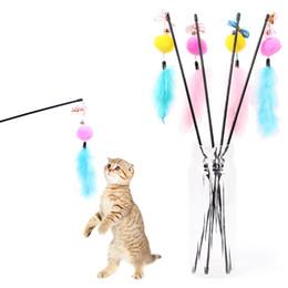 rats jouets en gros Promotion 1pc / lot en peluche plume clochette jouet pour chat teaser multi doux coloré chaton drôle de jeu interactif chat chat jouets Dropshipping