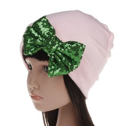 turbantes de criança Desconto New Hat Tricô Lantejoula Bowknot Hat Arcos Cap Criança Bebés Bohemia India Turban Chapéus Gorros Fotografia Adereços Foto