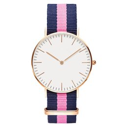 Wholesale Couples Watch White - Women Men Watch Quartz Luxury Brand Lovers' Fashion Wristwatches rose gold nylon Couple Quartz Watch Relogio Feminino Montre Femme
