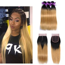 Wholesale Dyed Peruvian Lace Closure - #1B 27 Ombre Blonde Straight Bundles with Closure Brazilian Peruvian Malaysian Human Hair Weave 3 Bundles with 4x4 Middle Part Lace Closure