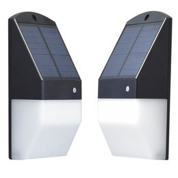 Wholesale Mini Solar Led Garden Lights - Solar Powered LED Wall Mount Lights Radar Motion Sensor Landscape Garden Yard Fence Outdoor Mini plane shape cool white and Dim Warm Lights