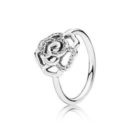 925 prata rosa flor anel Desconto 2018 Nova Moda Genuine 925 Sterling Silver Ring Fascinante Cintilante Rose Flor Para As Mulheres Anel de Noivado
