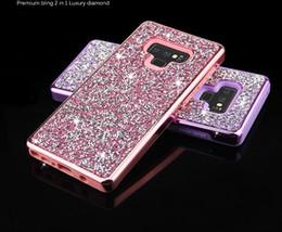 iphone 5c capa da habitação traseira Desconto Samsung note9 dois em um drill vara shell telemóvel chapeamento anti-queda com diamante shell telemóvel