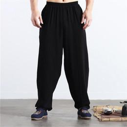 a90287d07925 Brand New Herbst Leinen Casual Hosen Männer Solid breiten Beinhosen plus  Größe Sommer Leinen Hosen M-5XL 6XL schwarz khaki blau rot
