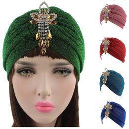Wholesale Head Turbans - 5Pcs Lot New Women Fashion Muslim Stretch Turban Hat Lady Chemo Cancer Headwrap Cap Bright Silk Head Scarf