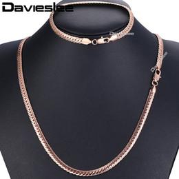 Gelbe rose schmucksets online-Davieslee Jewelry Set Kubanische Kette Damen Halskette Armband Weiße Rose Gelbgold Gefüllte Kette 6mm DGS271A