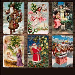 cartazes de natal vintage Desconto Sinais de Metal de Natal do vintage Papai Noel Anjo Retro Pintura Home Decor Cartazes Artesanato de Natal Arte Da Parede Fotos 13 Estilos