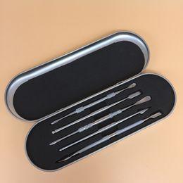 Outils ss en Ligne-2018 outil de cire en métal outils SS dabber avec pelle spatule pour tuyau de verre quartz banger stylo vaporisateur bong en verre 5 styles kit