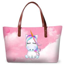 borse delle ragazze adolescenti Sconti Borse di stampa unicorno carino per  le donne Shopping borse da 5d4a8a0a9c7