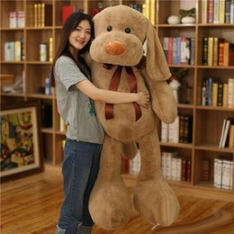 Wholesale Large Stuffed Toy Dogs - Valentine's Day Large Soft Animal Dog Plush Toy Stuffed Cartoon Pillow Animals Doll Gift for Girls and Boys3 Colors 100cm 140cm