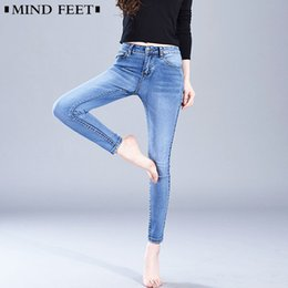 MIND FEET Mujer Pantalones Vaqueros Elásticos Femeninos Tallas grandes Pantalones Denim Flacos Damas Cómodos Pantalones Lápiz Delgado Casual Primavera Otoño desde fabricantes