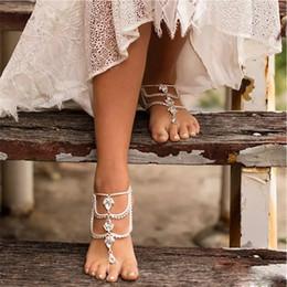 Модные кольца для ног онлайн-Мода Горный Хрусталь Босиком Пляж Сандалии Для Свадьбы Кристаллы Морская Звезда Ножные Браслеты Цепи Toe Кольцо Невесты Свадебные Украшения Для Ног