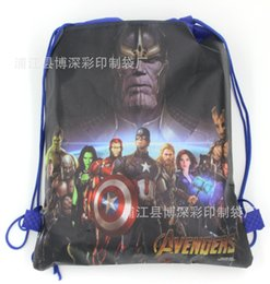 2019 anillo de bodas tapones de botella 48pcs-Wholesale Cartoon Drawstring bag Avengers, Spidermen, Iron Man Ellos Party Favors Regalos de cumpleaños para Boy Party Supplies
