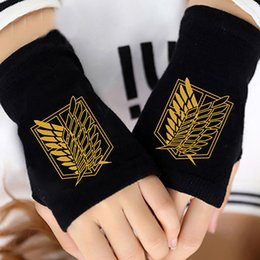Wholesale Attack Titan Wigs - Anime Attack on Titan Finger Cotton Knitting Wrist Gloves Mitten Lovers Anime Accessories Cosplay Fingerless Gift HOT Fashion