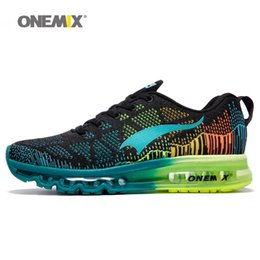 Wholesale music baseball - ONEMIX Men Air Sport Running Shoes for Man Brand Trainers music rhythm Flywire Vamp Sneaker Breathable Mesh Athletic Outdoor cushion Shoe 90