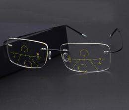8d35f4c7d WEARKAPER Inteligente Progressivo Multifocal Óculos de Leitura Zoom  Automático Near and Far Multifuncional Óculos Sem Aro Óculos Bifocais