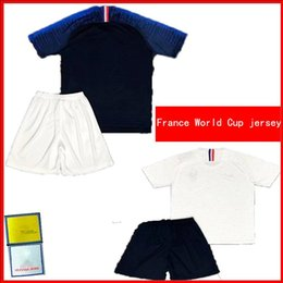 Wholesale Home Sports Pants Men - French Set plus pants Home blue Away soccer jersey 2018 World Outdoor sports suit printed patch l virgil Paul Pogba COMAN football Shirts