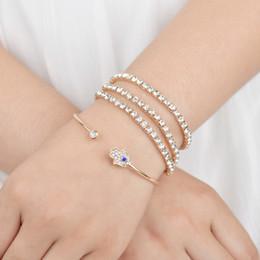 pulsera de oro coreano Rebajas UAM estilo coreano de moda de oro Rhinestone pulseras de cristal para las mujeres a mano brazaletes de Fastima Set Girls Open Cuff elástico Pulseras