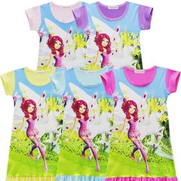 Wholesale flared leather skirt - Girls mia and me Unicorn princess dress Children Medium Length Skirt cartoon short sleeves Pajamas dresses Kids clothes 5 Color LC816