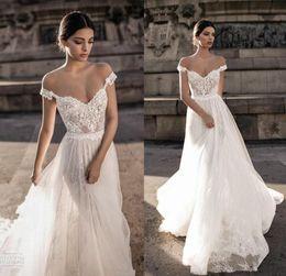 Wholesale Illusion Bodice - Vintage Lace Bohemian Wedding Dresses 2018 Summer Beach Backless Off The Shoulder Berta Bridal Gowns Cheap Wedding Reception Dress