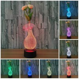 вазы для стола Скидка Цветочная ваза форма 3D свет лампы Светодиодные лампы для детей подарок USB стол стол украшения дома огни лампы ребенок спит ночник