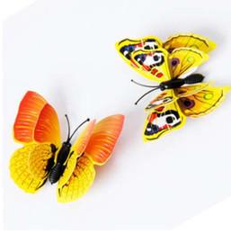 12 UNIDS 3D Amarillo Mariposa Etiqueta de La Pared Imán de Nevera Decoración de la Habitación decal Applique cortina refrigerador Con magnética desde fabricantes