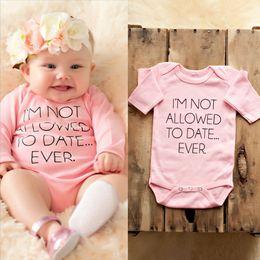 Розовый однокомпонентный комбинезон онлайн-Newborn Baby Girls Pink Bodysuit Clothes Infant Girl Cute Bear Letter Printed Long Sleeve Bodysuits Jumpsuit Outfits One-pieces
