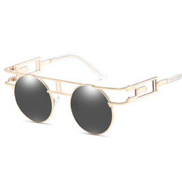 Wholesale personality glasses for women - New Round Metal Fashion Sunglasses Steampunk Vintage Personality Mens Womens Glasses Designer Retro Sunglasses For Men