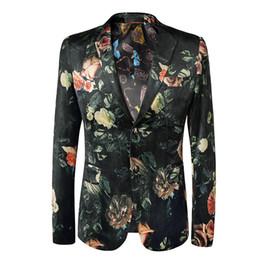 2019 um botão elegante homens Ternos florais à moda do dragão dos homens de Loldeal forma Blazer do partido do Um-Botão jaqueta um botão elegante homens barato